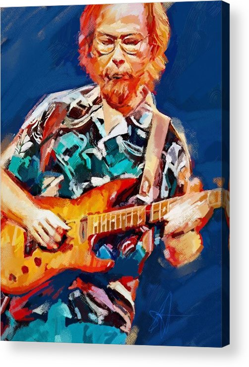Walter Becker Music Portrait Musician Rock Steeley Dan Acrylic Print featuring the digital art Uncle Walter by Scott Waters