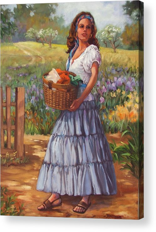 Female Figure Acrylic Print featuring the painting Wash Day by Dianna Willman