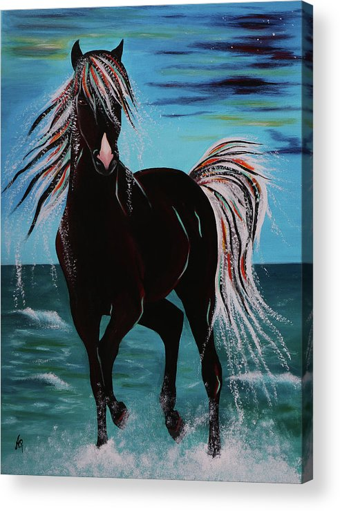 Horse Acrylic Print featuring the painting Waterhorse by Nicole Paquette