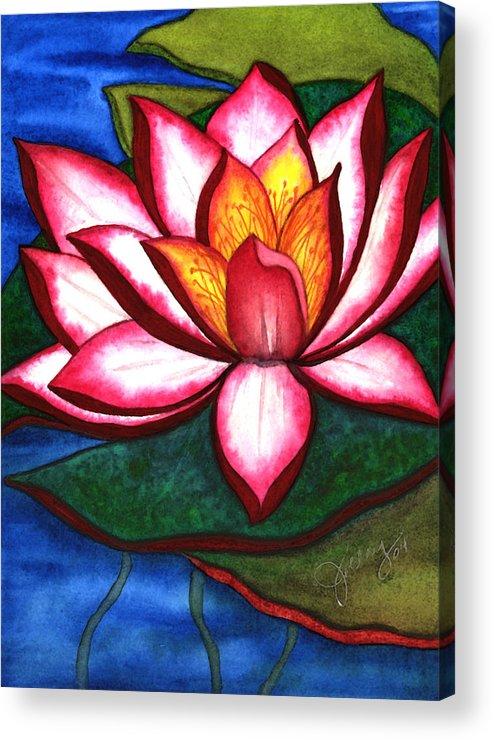 Watercolor Acrylic Print featuring the painting Waterlily by Stephanie Jolley