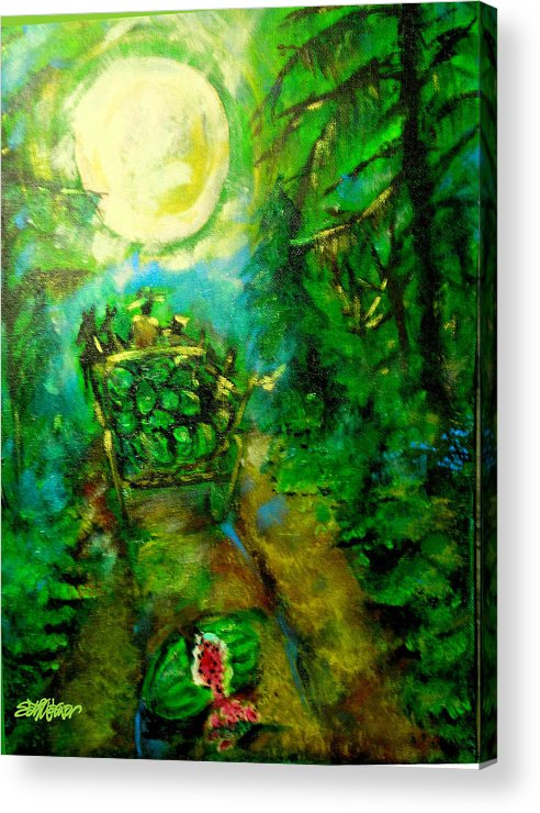 Watermelon Wagon Moon Acrylic Print featuring the painting Watermelon Wagon Moon by Seth Weaver