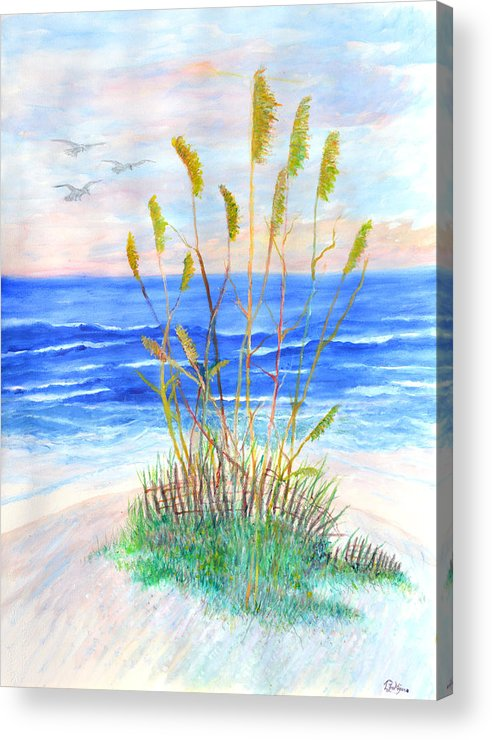 Sea Oats Acrylic Print featuring the painting Whispering Sea Oats by Ben Kiger