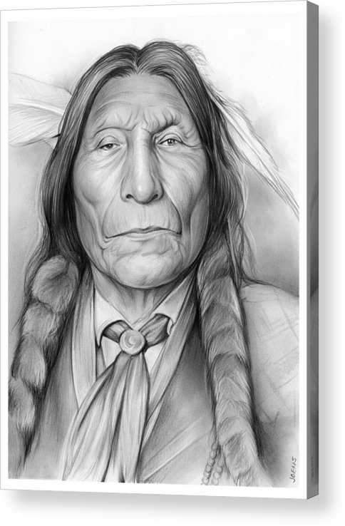 American Indian Acrylic Print featuring the drawing Wolf Robe by Greg Joens
