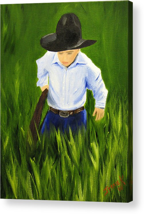 Portrait Acrylic Print featuring the painting Workin Hard by Jessica Krogstadt