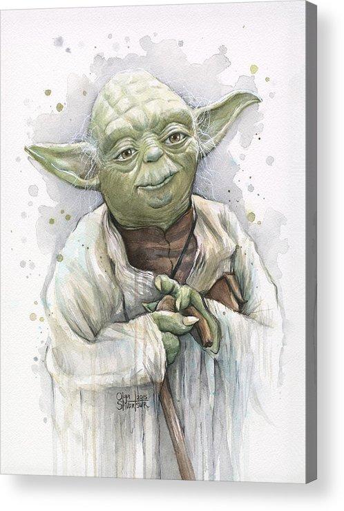 Yoda Acrylic Print featuring the painting Yoda by Olga Shvartsur