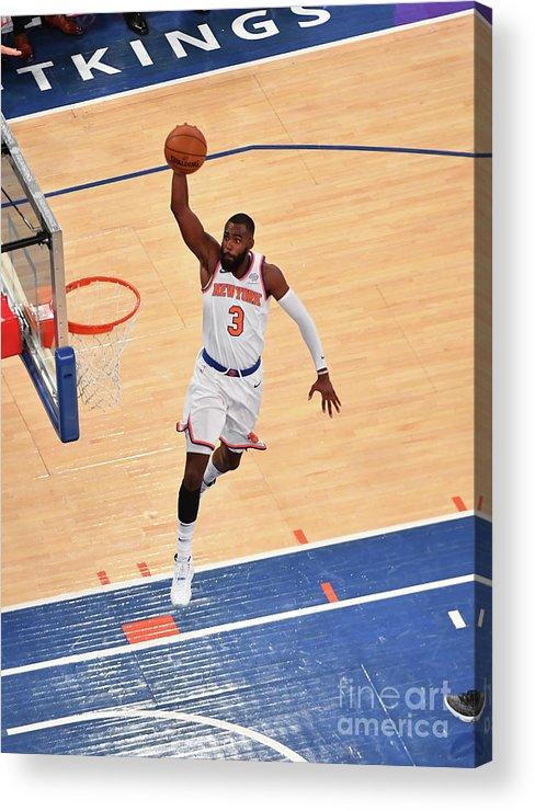 Tim Hardaway Jr. Acrylic Print featuring the photograph New York Knicks V Cleveland Cavaliers by Jesse D. Garrabrant