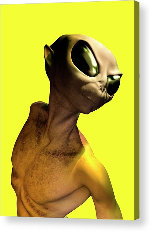 Looking Over Shoulder Acrylic Print featuring the digital art Alien, Artwork by Victor Habbick Visions