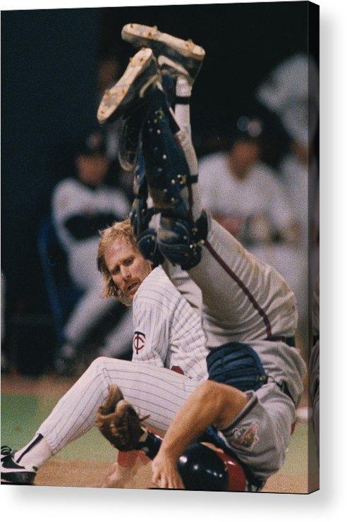 American League Baseball Acrylic Print featuring the photograph Atltanta Braves V Minnesota Twins by Ronald C. Modra/sports Imagery