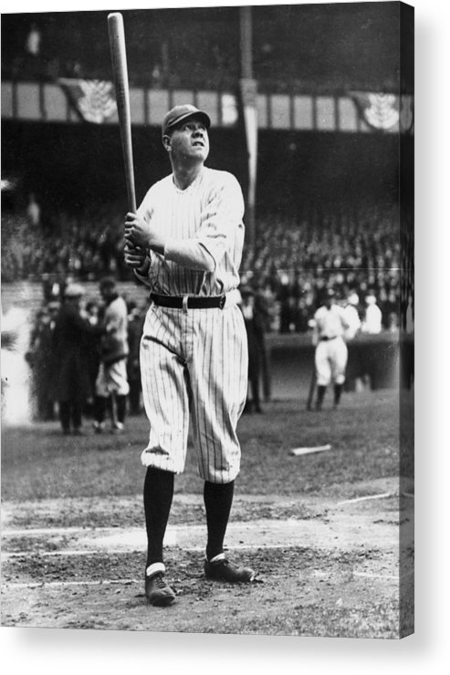 People Acrylic Print featuring the photograph Babe Ruth Batting For Ny Yankees by Topical Press Agency