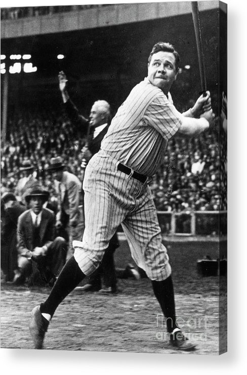 American League Baseball Acrylic Print featuring the photograph Babe Ruth Eye On Ball by Transcendental Graphics