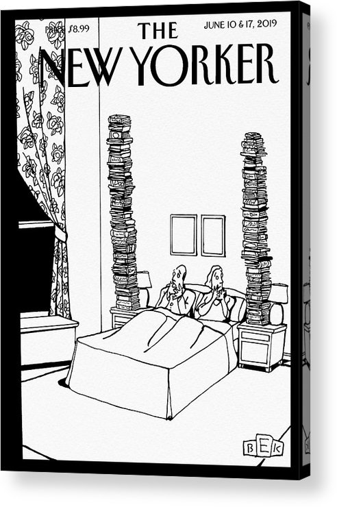Bedtime Stories Acrylic Print featuring the drawing Bedtime Stories by Bruce Eric Kaplan