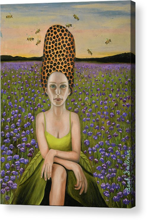 Beehive Al Acrylic Print featuring the painting Beehive Al by Leah Saulnier
