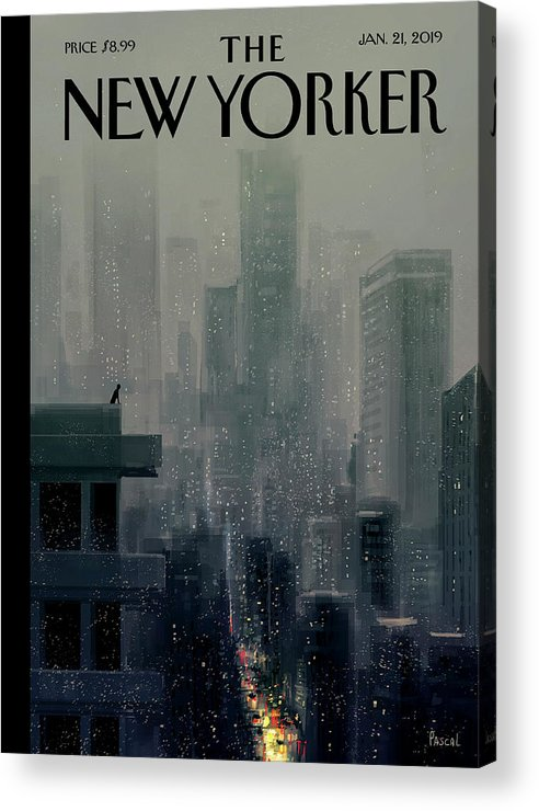 Cityscape On A Wintery Evening With A Silhouette Of A Person On A Rooftop Acrylic Print featuring the painting Big City by Pascal Campion
