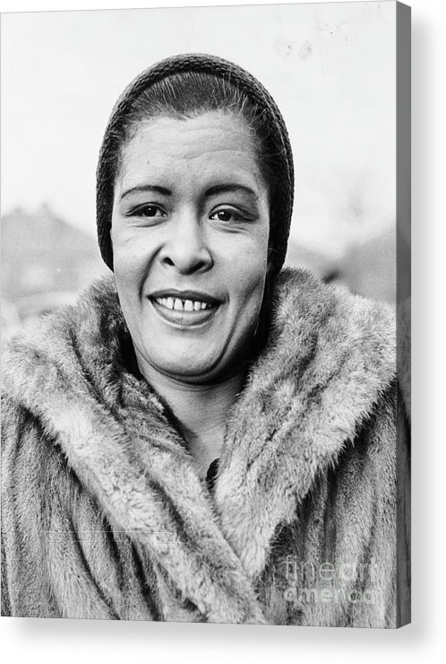 People Acrylic Print featuring the photograph Bilie Holliday Wearing Fur Coat by Bettmann