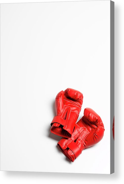 The End Acrylic Print featuring the photograph Boxing Gloves On White Background by Peter Dazeley
