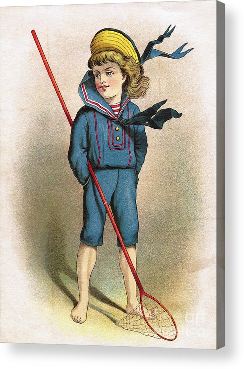 Art Acrylic Print featuring the photograph Boy In Sailor Suit With Butterfly Net by Bettmann
