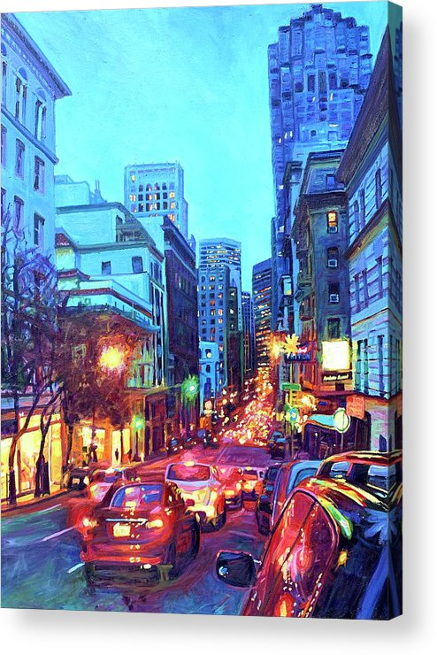 Cityscape Acrylic Print featuring the painting Bright Lights, Big City by Bonnie Lambert