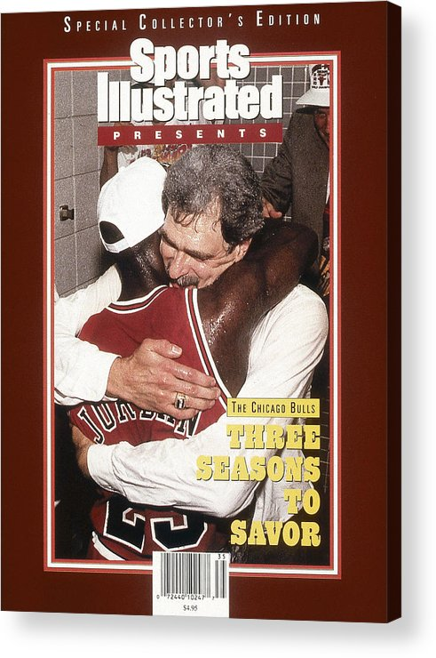 Chicago Bulls Acrylic Print featuring the photograph Chicago Bulls Coach Phil Jackson And Michael Jordan, 1993 Sports Illustrated Cover by Sports Illustrated