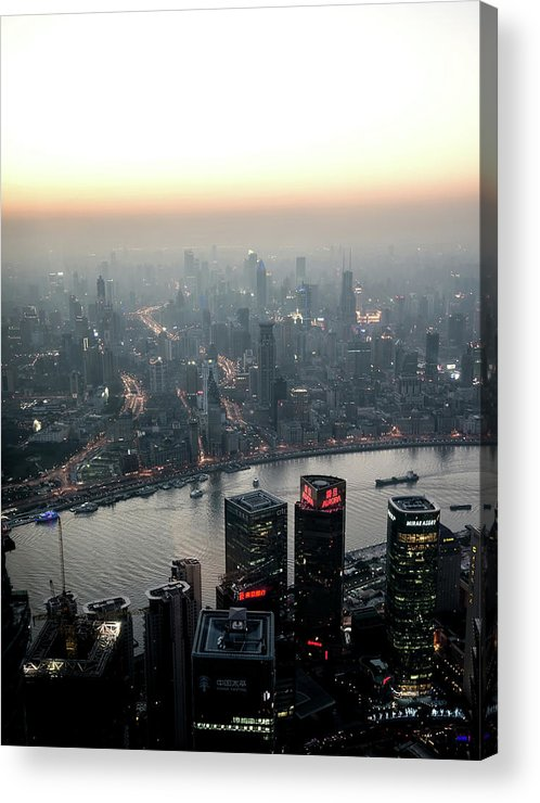The Bund Acrylic Print featuring the photograph Cityscape Puxi Shanghai by Andy Brandl