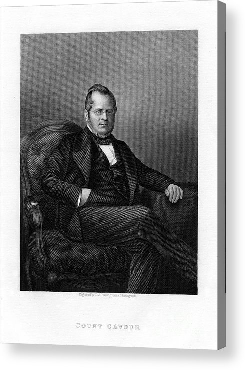 Engraving Acrylic Print featuring the drawing Count Camillo Benso Di Cavour, Italian by Print Collector