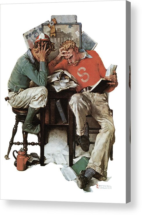Books Acrylic Print featuring the drawing cramming by Norman Rockwell