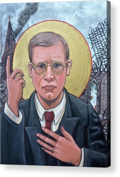 Iconography Dietrich Bonhoeffer Christian Theologian Acrylic Print featuring the painting Dietrich Bonhoeffer by Kelly Latimore