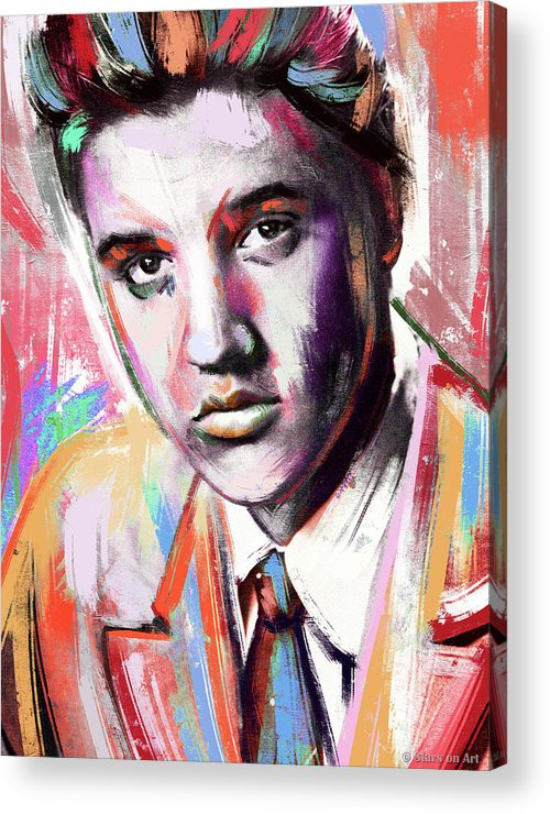 Elvis Acrylic Print featuring the painting Elvis Presley painting by Stars on Art