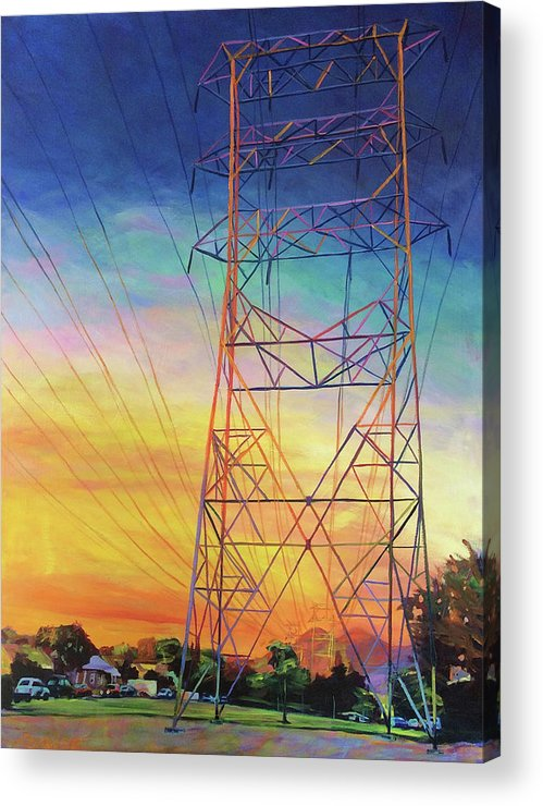 Sunset Acrylic Print featuring the painting Fire Power by Bonnie Lambert