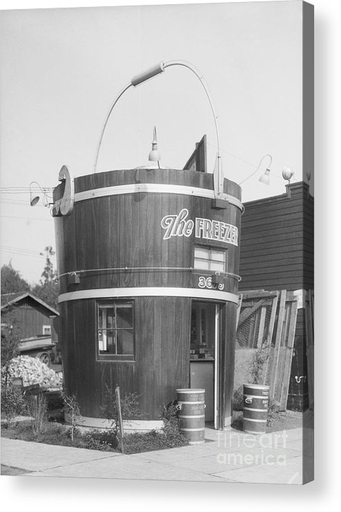Outdoors Acrylic Print featuring the photograph Freezer Of Ice Cream Parlor by Bettmann
