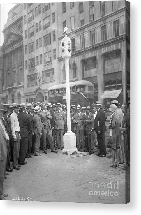 Crowd Of People Acrylic Print featuring the photograph Grover Whalen Inspects New Traffic by Bettmann