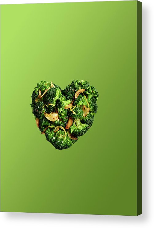 Broccoli Acrylic Print featuring the photograph Heart Shaped Broccoli On Green by Maren Caruso