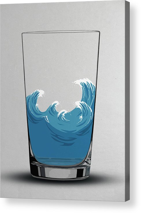 Concepts & Topics Acrylic Print featuring the digital art Illustration Of Choppy Waves In A Water by Malte Mueller