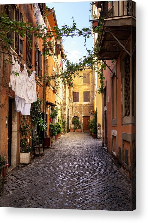 Roman Acrylic Print featuring the photograph Italian Old Town Trastevere In Rome by Spooh