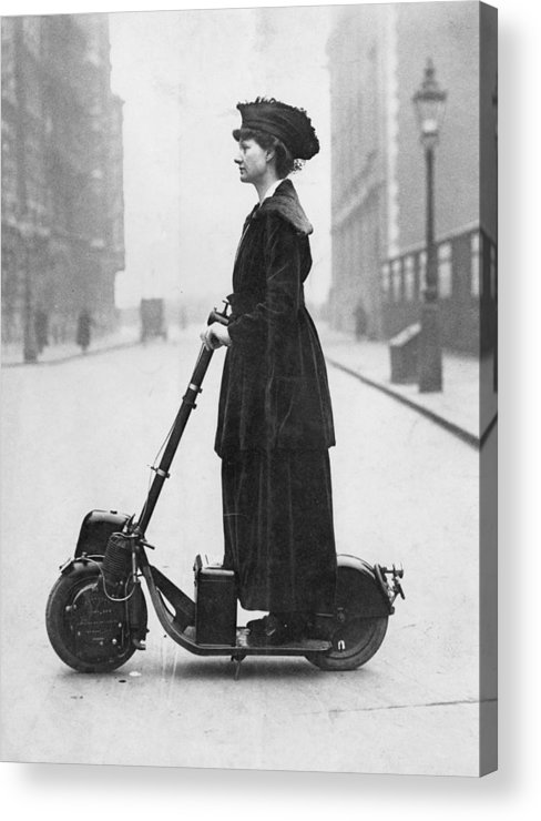 People Acrylic Print featuring the photograph Lady Normans Scooter by Fpg