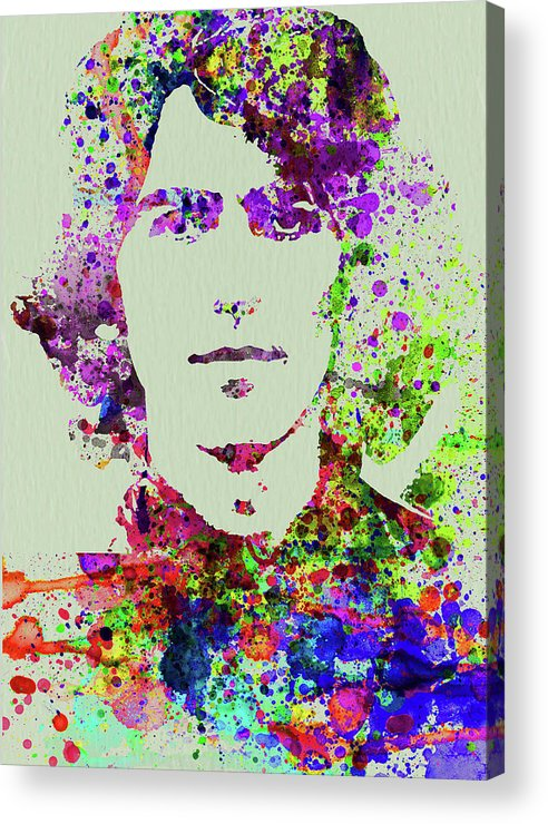 Beatles Acrylic Print featuring the mixed media Legendary George Harrison Watercolor II by Naxart Studio