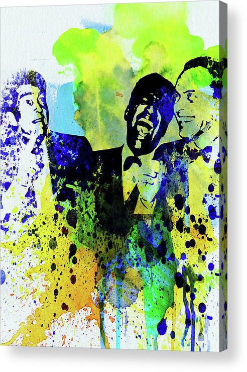 Rat Pack Acrylic Print featuring the mixed media Legendary Rat Pack Watercolor by Naxart Studio