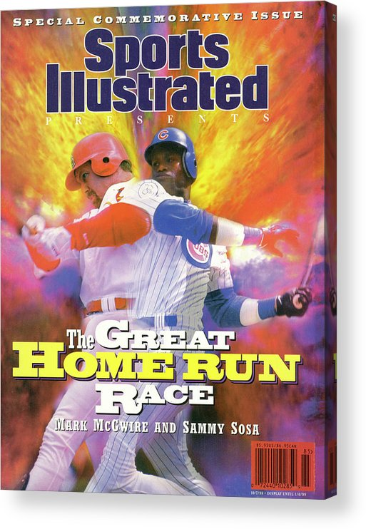 Motion Acrylic Print featuring the photograph Mark Mcgwire And Sammy Sosa The Great Home Run Race Sports Illustrated Cover by Sports Illustrated