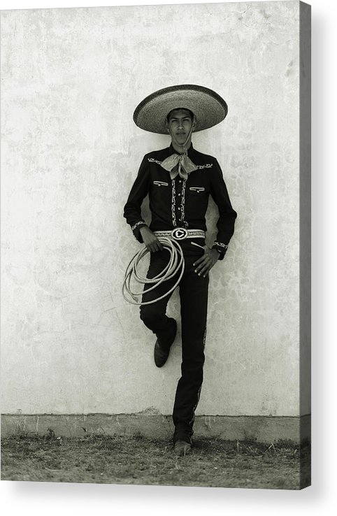 Cool Attitude Acrylic Print featuring the photograph Mexican Cowboy Wearing Hat And Holding by Terry Vine
