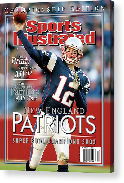 Motion Acrylic Print featuring the photograph New England Qb Tom Brady, Super Bowl Xxxviii Champions Sports Illustrated Cover by Sports Illustrated