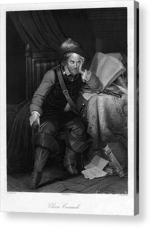 Oliver Cromwell Acrylic Print featuring the drawing Oliver Cromwell With Killing No Murder by Print Collector