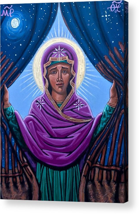 Acrylic Print featuring the painting Our Lady Who Removes Walls by Kelly Latimore