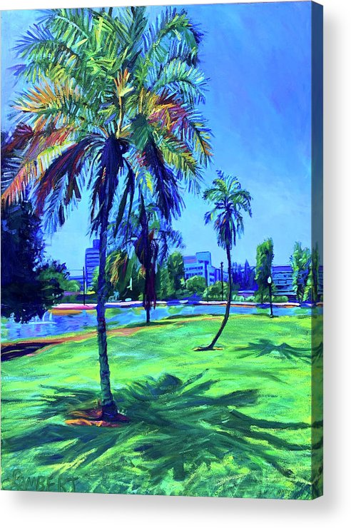 Park Acrylic Print featuring the painting Palm Prints by Bonnie Lambert