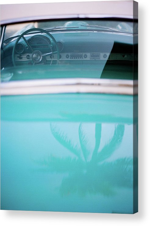 Outdoors Acrylic Print featuring the photograph Palm Tree Reflection On Car by Jörgen Persson - Www.rebusfilm.se