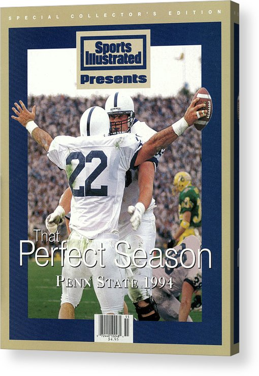 People Acrylic Print featuring the photograph Penn State University Brian Milne, 1994 Ncaa Perfect Season Sports Illustrated Cover by Sports Illustrated