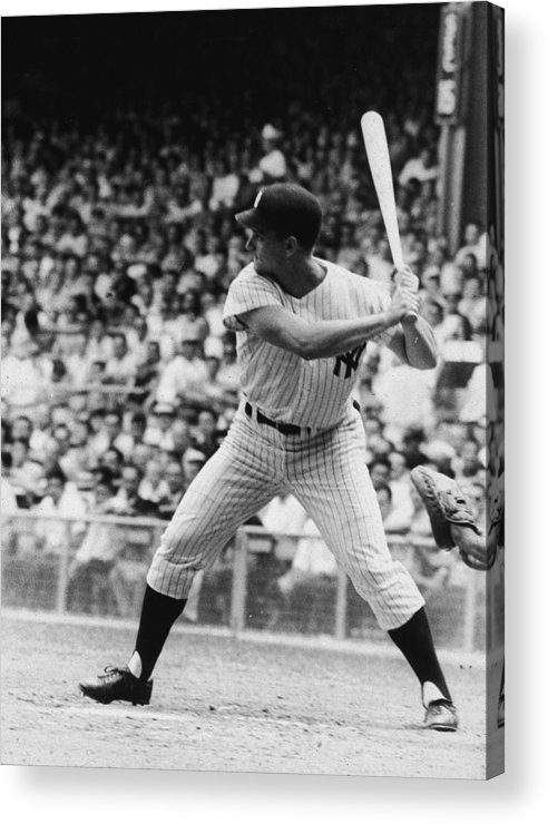 American League Baseball Acrylic Print featuring the photograph Roger Maris At Bat At Yankee Stadium by Hulton Archive