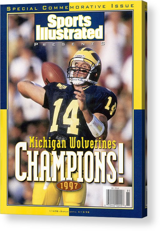 Brian Griese Acrylic Print featuring the photograph University Of Michigan Qb Brian Griese, 1997 Ncaa National Sports Illustrated Cover by Sports Illustrated