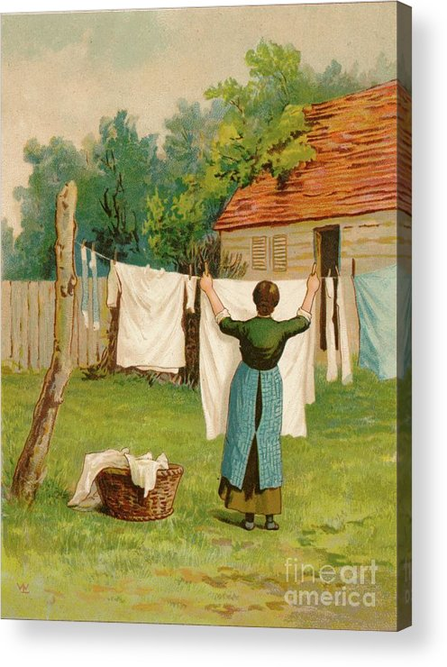 Artist Acrylic Print featuring the drawing Woman Hanging Up Washing by Print Collector