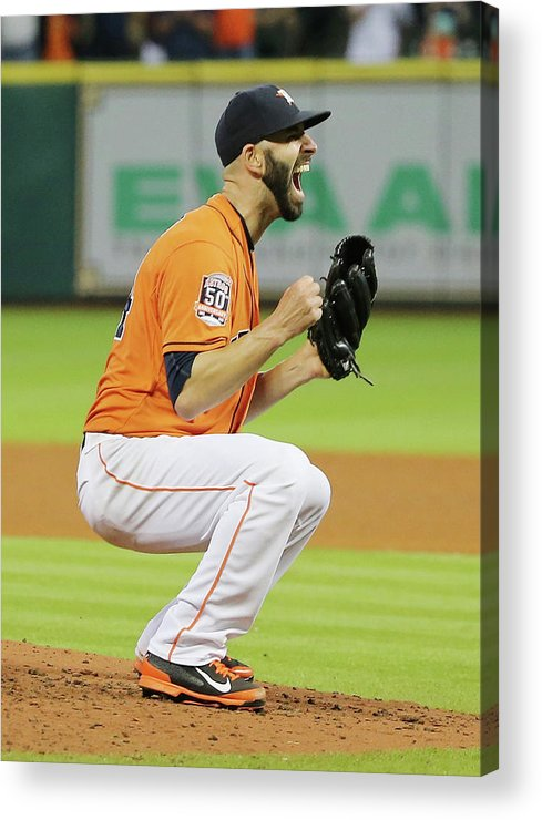 People Acrylic Print featuring the photograph Mike Fiers by Scott Halleran