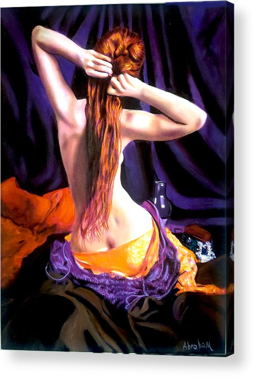 Nude Acrylic Print featuring the painting red by Jose Manuel Abraham