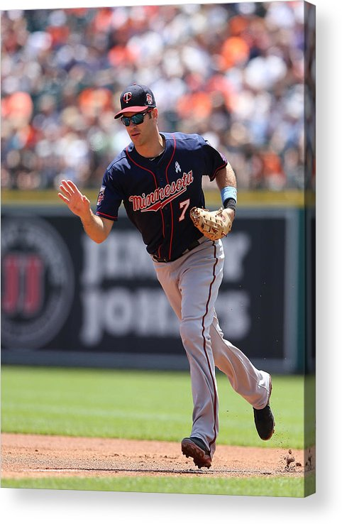 Joe Mauer Acrylic Print featuring the photograph Joe Mauer by Leon Halip